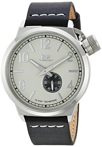 Vestal Men's Canteen Italia' Quartz Stainless Steel and Leather Dress Watch, (Model: CNT3L03) One Size Black