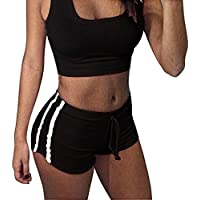 Inlefen Sportbekleidung für Frauen Weicher und Bequemer Sportanzug Gestreifte Sporthose Geeignet für Fitness BH + Shorts Yoga Kleidung
