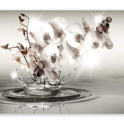 Fotomurali carta da parati in tessuto non tessuto - quadri murali - fotomurale natura adesivi muro - feature 3d wallpaper wall-art wallpaper murale camera da letto soggiorno - orchidee fiori acqua astratta, 150cmx105cm