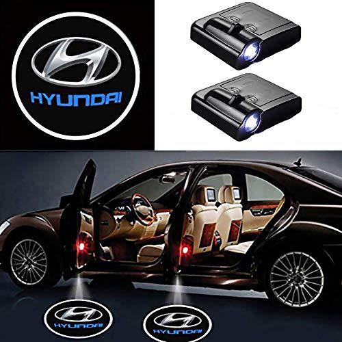 Luz de Logotipo para la Puerta del Coche, 2 Unidades, proyector LED para el Coche, proyector láser inalámbrico, con Logotipo (para Hyundai)