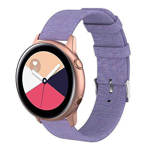 Womdee Kompatibel mit Samsung Galaxy Watch Active 40mm Bands - 20mm Schnellspanner Ersatz Canvas Strap Für Galaxy Watch Active SM-R500 & Galaxy Watch 42mm Damen Herren Smartwatch