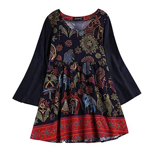 IZHH Plus Size Damen Tops Casual National Style Langarm V Ausschnitt Lose Baumwolle Leinen Langes Hemd Bluse T Shirt Pullover (Mehrfarbig,XXXXXL)