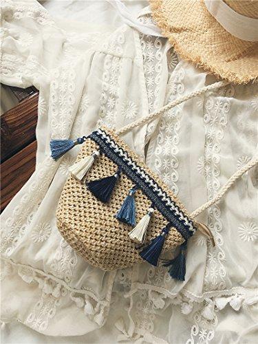 BAGEHUA Folk Stil Persönlichkeit All-Match Schultertasche Handtasche geflochten Schulter Mini Stroh Beutel helle Farbe (Stil Handtasche Schulter)