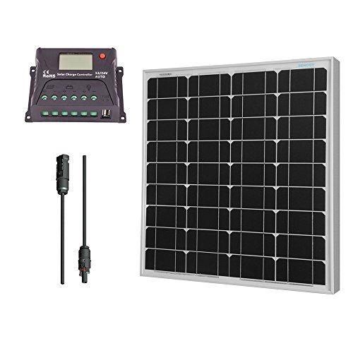 Renogy 50 Watt Monokristallin Basic-Bausatz 50W Solarmodul Solarpanel Mono 12V+10A PWM Solarregler mit LCD-Anzeige+23cm 2 mm² Adaptor Komplett Set Solarenergie-Kabel PV mit MC4 weiblichen und männlichen Steckverbinder (Solar-panel-kits)