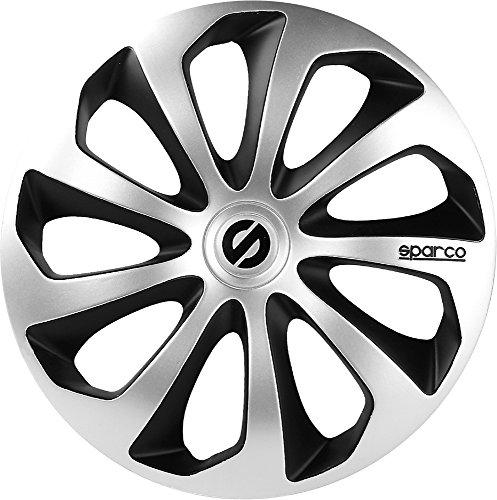 """SPARCO SPC1673SVBK Sicilia 4 Stück Radzierblenden, Silber/Schwarz, 4 Stück, 16"""""""