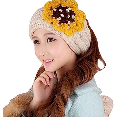TININNA Inverno Caldo carina Fiore lavorato a maglia knit Fascia per capelli caldo orecchio Cerchietto earmuffs Knit Sciarpe scaldacollo per le donne ragazze Beige