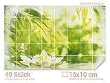 GRAZDesign 766242_15x10_70 Fliesenaufkleber Seerosen - Blätter - Druck | Bad-Fliesen mit Fliesenbildern überkleben (Fliesenmaß: 15x10cm (BxH)//Bild: 105x70cm (BxH))