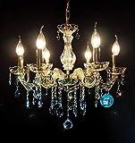 Kristall Kronleuchter 6Flammig Ø55cm gefertig aus SPECTRA CRYSTAL von SWAROVSKI + Kerzenhülsen