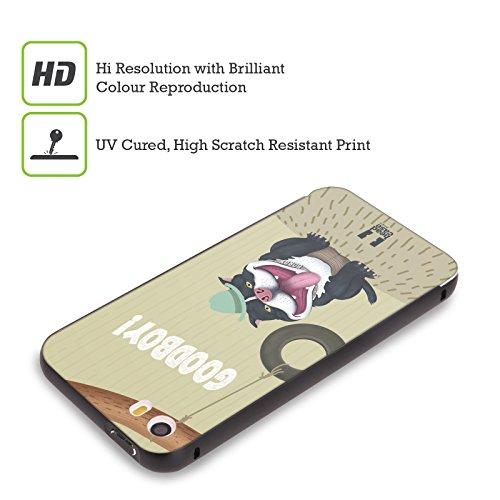 Head Case Designs Faultier Witzeleien Tiere Schwarz Rahmen Hülle mit Bumper aus Aluminium für Apple iPhone 5 / 5s / SE Hund