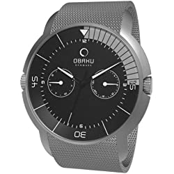 Obaku Men's Quartz Watch with Black Dial Analogue Display and Grey Stainless Steel Bracelet V141GCBMC