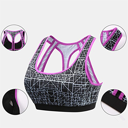 YeeHoo Sports Bra Sexy Yoga Tops Fitness Activewear Workout Clothes for Women Viola