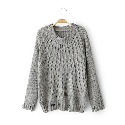 HUA&X Baggy femmes Knit col rond Top Pull chandail tricoté de cavalier Grey