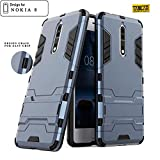 #6: Taslar Dual Layer Hybrid Armor Stand Cover Case Protector Back Cover Kickstand for Nokia 8,(Dark Blue)