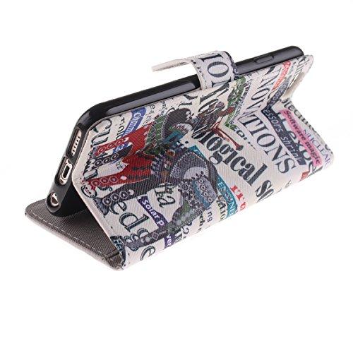 Ekakashop iPhone 6 Cover, iPhone 6S Custodia in pelle, Copertura di Vibrazione pelle con Magnete Flip Carina Balena Blue Case Stile del Libro di pelle della Protezione di caso del basamento della Cope Fashion Elefante