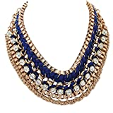Epinki Damen Vergoldet Halskette, Hawaiikette Mehrschichtig Gewebt Quadrat mit Zirkonia Blau