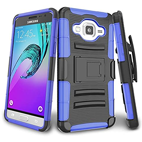 Coque Samsung J3[Tough Armor] [Ceinture pivotante clip] silicone intérieure+extérieure en polycarbonate Combo Cover Shell Armor Anti-Choc Anti-Poussière Housse Etui pour Samsung J3