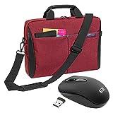 """PEDEA """"Lifestyle"""" Notebooktasche für 17,3 Zoll (43,9cm) mit Zubehörfach/Schultergurt + schnurlose Maus 2,4 GHz, rot"""
