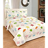 Radhey Radhey Home Furnishing Polycotton 3D Economy 140 TC Double Bedsheet With Pillow Covers, 90x90 And 17x27 Inches (White, KMCHBS12) - Set Of 3