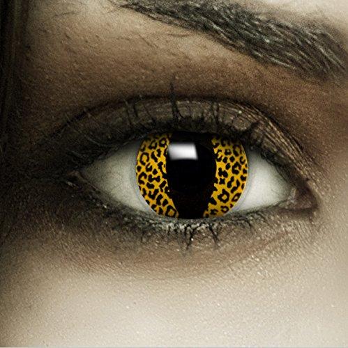 Farbige gelbe Kontaktlinsen Leopard + Kunstblut Kapseln + Behälter von FXCONTACTS®, weich, ohne Stärke als 2er Pack - perfekt zu Halloween, Karneval, Fasching oder Fasnacht