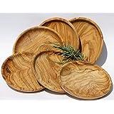 Lot de 6 assiettes de présentation en bois d'olivier lAMAMMA assiettes 19 cm.