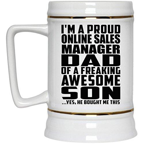 Im A Proud Online Sales Manager Dad Of A Freaking Awesome Son, He Bought Me This - Beer Stein Bierkrug Keramik Bierhumpen Bar Becher Kneipenkrug - Geschenk zum Geburtstag Jahrestag Muttertag Vaterta Sale Vintage Milk Glass