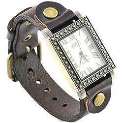 Armbanduhren Quarz Analog Römischen Ziffern Leder Modeschmuck Uhr Damen Herren Unisex eckig Klassisch Luz Braun Geschenk Unisex