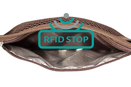 Flache Bauchtasche mit RFID-Blockierung Geldversteck Multifunktional Hüfttasche Laufgürtel Brustbeutel zum Sport Reisen Fitness oder Joggen (Beige / Braun) Braun