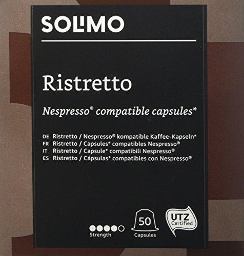 Marchio amazon - solimo capsule ristretto, compatibili nespresso* - caffè certificato utz, 100 capsule (2 x 50)