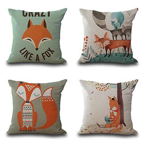 3D-Druck Hochwertige Pillowcase-Fox-Dekoration, Leinen Werfen Kissen Für Bett Couch, Auto Kissen 18 X 18 Zoll