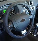 'Ausgezeichnete Qualität' Universal Lenkradhülle aus echtem Leder schwarz für Auto Anti rutsche Durchmesser 37–39cm + 1Wandtattoo PC