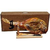 Ganze Serrano Schinken Keule 6,5kg im Set mit Halterung und Messer direkt aus Spanien - vollständiges Geschenkset im praktischen Karton
