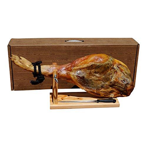 Ganze Serrano Schinken Keule 6,5kg im Set mit Halterung und Messer direkt aus Spanien – vollständiges Geschenkset im praktischen Karton