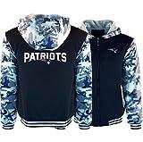 SHR-GCHAO Automne et Hiver New England Patriots Sweat à Capuche Rugby Fan Veste Plus capitonnées de Velours Réchauffez Sport Pull Camouflage Pull,Bleu,M165~170CM