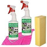 WEGA CLEAN 2 X 750 ML SET (7377) – Detergente per attrezzi da giardino, sgrassatore, sgrassatore per nicotina, rimuove la fuliggine, rimuove gli insetti, rimuove gli escrementi di escrementi di escrementi di uccelli, pulitore per mobili da giardino, detergente in PVC, detergente per telaio della finestra, detergente in metallo, detergente in plastica cromato + panno + spugna – ABACUS