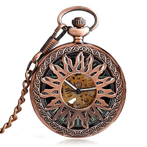 Vintage Taschenuhr, Flame Sun Automatische Mechanische Taschenuhr, Anhänger Schlüsselanhänger Kette Geschenk für Männer Frauen