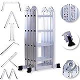 Masko® 6in1 Mehrzweckleiter 4.70M ALU Anlegeleiter Klappleiter Stehleiter Aluminium Modell: