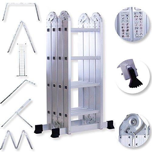 Masko® 6in1 Mehrzweckleiter 4.70M ALU Anlegeleiter Klappleiter Stehleiter Aluminium Modell: 4 x 4 Stufen