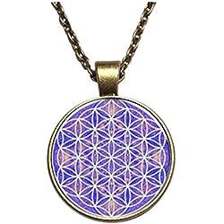 Púrpura de la flor de la vida colgante OM Yoga Chakra colgante Mandala collar Fashion joyería de cúpula de cristal con la geometría sagrada Mujer