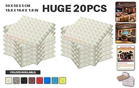 Ace Punch 20 Paquet Pyramide Mousse Acoustique Panneau Insonorisation Sonorisation Absorbeur Traitement avec Ruban Adhesif 50 x 50 x 5 cm Blanc AP1034