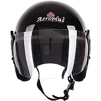 AEROPLUS BLACK GLOSSY Half Face Helmet for Women/Men Motorbike Helmet (BLACK GLOSSY)