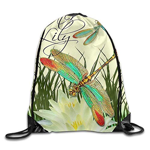 fengxutongxue Water Lily Drawstring Backpack Travel Bag Gym -
