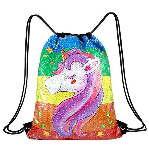 WolinTek Borsa Paillettes Reversibili Borsa Zaino Borsa Magia Unicorno Zaino con Coulisse Sirena con Glitter 33×40cm per Bambine Teens