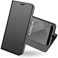 OJBKase Funda Huawei P20, Premium Piel sintética Billetera Carcasa Protectora Cartera y Funda Cubierta Interior TPU [Soporte Plegable] Protección De Cuerpo Completo Case para Huawei P20 (Gris Oscuro)