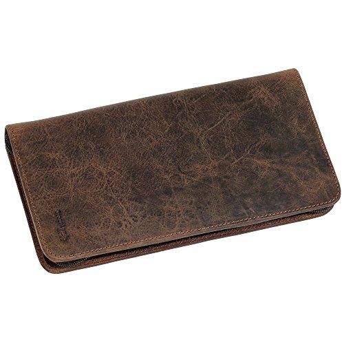 Brieftasche schwarz aus Lederfaserstoff Reisemappe Farbe