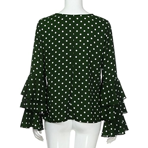 Somesun Women's Polka Dot Blouse Tops Shirt, Camicia delle Donne delle Signore di Modo della Bell Manicotto Allentato Polka Dot Camicetta Casual Tops Green
