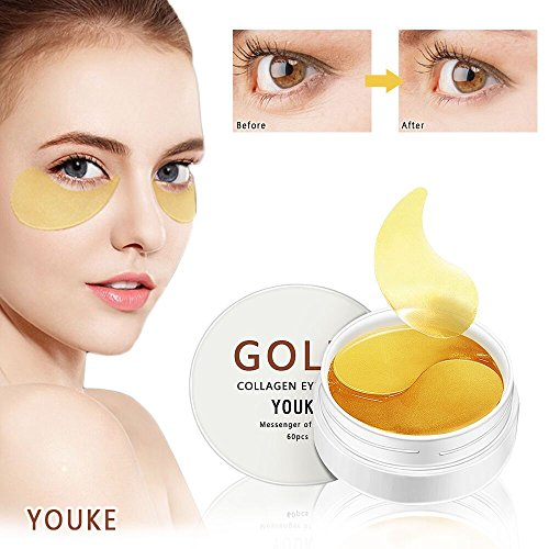 30 Paar/60 Pcs Neue Crystal 24K Gold Collagen Eye Mask, Golden Kollagen Augenpads, Gold Augenmaske, Anti-Aging, Anti-Falten Augenmasken