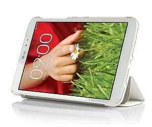 ELTD® Housse de haute qualité pour LG G Pad 7.0 Tablette Avec Stand de positionnement support et le sort de veille (Pour LG G Pad 7.0, Blanc III)