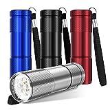 YoungRich 4 pezzi Torce a LED Portachiavi Torcia tascabile portatile con lega di alluminio e portachiavi per bambini Adulti Festa Divertimento Campeggio Escursionismo,Rosso Blu Nero Argento