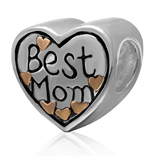 Best Mom Charme mit Gold vergoldet Herz 925Sterling Silber Love Charm Bead Passt Für Europäische Kette Armband für Mütter Tag Geschenke