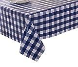 Mantel para mesa de fácil limpieza de Vinylla, de policloruro de vinilo, estilo gingham, con cuadros azules, pvc, azul, 140x240cm